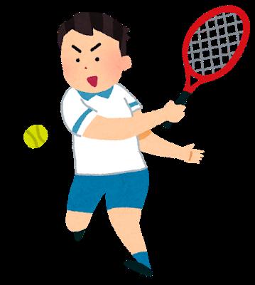 テニスをしている少年